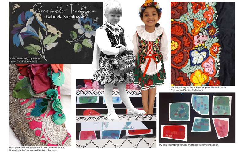 BA Textile Design graduate Gabriela Sokolowska's award-winning project 'Renewable Tradition'. A moodboard of inspiration for Gabriela's final weaves. Featuring photographs of young girls in traditional Polish dress, colour swatches, mark making and floral patterns.