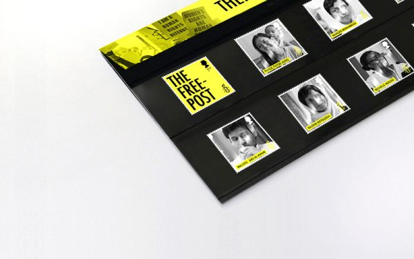 Tom Hardwick - A mock up of a black envelope, with a yellow lip. The envelope has six stamps; 5 black and white photos of human rights activists, and one yellow stamp saying 'The Free Post'. The work is part of an award-winning project by graduate Tom Hardwick.