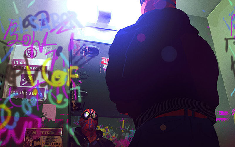 Concept art by Alberto Mieglo showing Spiderman looking at his reflection in a mirror surrounded by graffiti