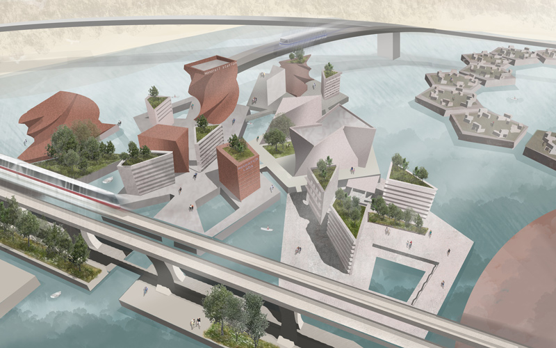 BA Architecture student Caitlin Meiers' illustrated vision of a floating Great Yarmouth. Grey buildings and bridges are suspended above water, tackling the rising sea level and coastal erosion