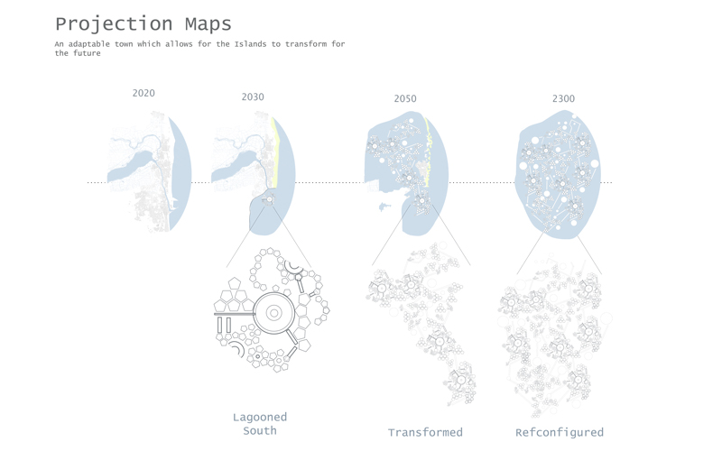 Projection maps designed by BA Architecture student Caitlin Meier, showing design for the future rather than the present