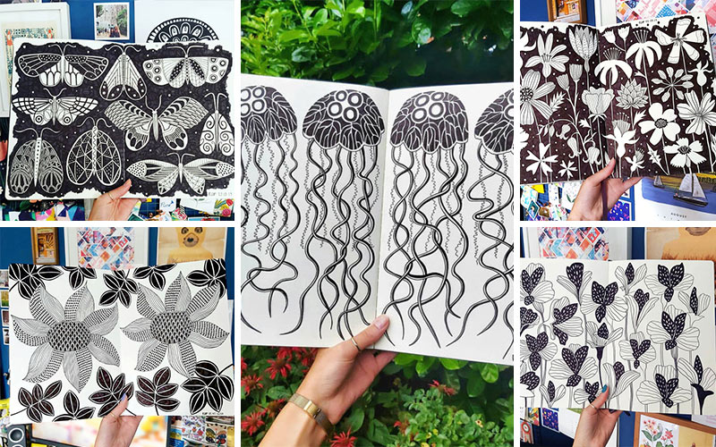 Multiple photos of the contents of BA Textile Design graduate Rachel Parker's sketchbook. A variety of hand drawn repeated patterns