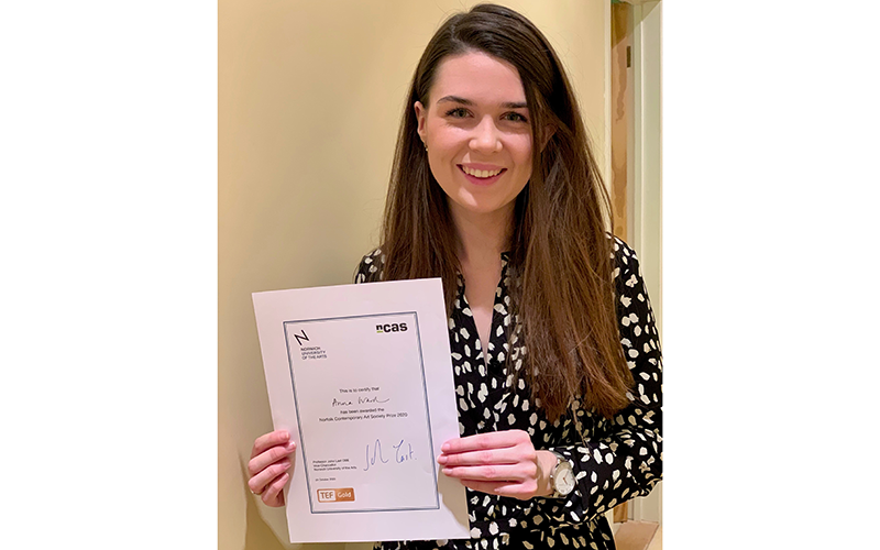 Anna Ward with her NCAS Prize certificate