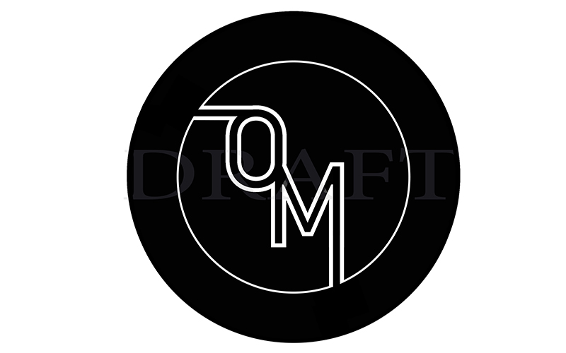 White O and M in a black circle on a white background