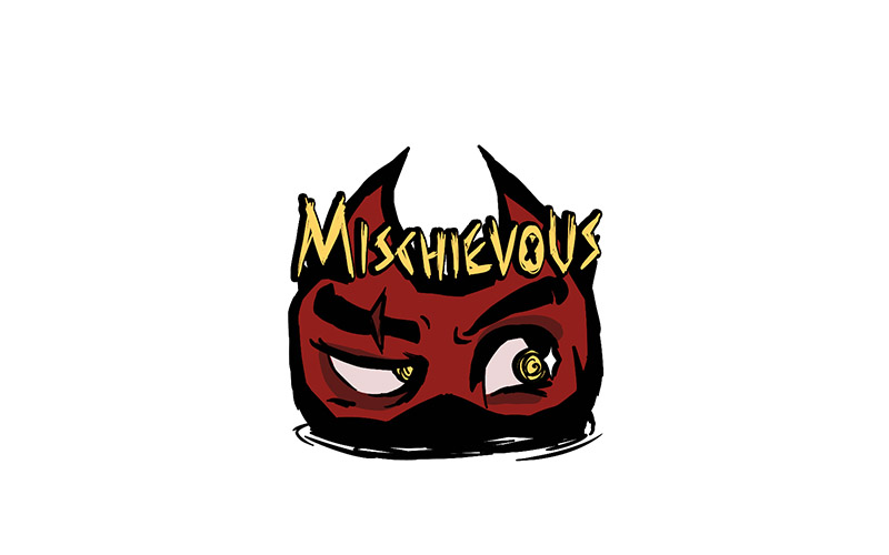 Drawing of a red face with devil horns and the word Mischievous over the top