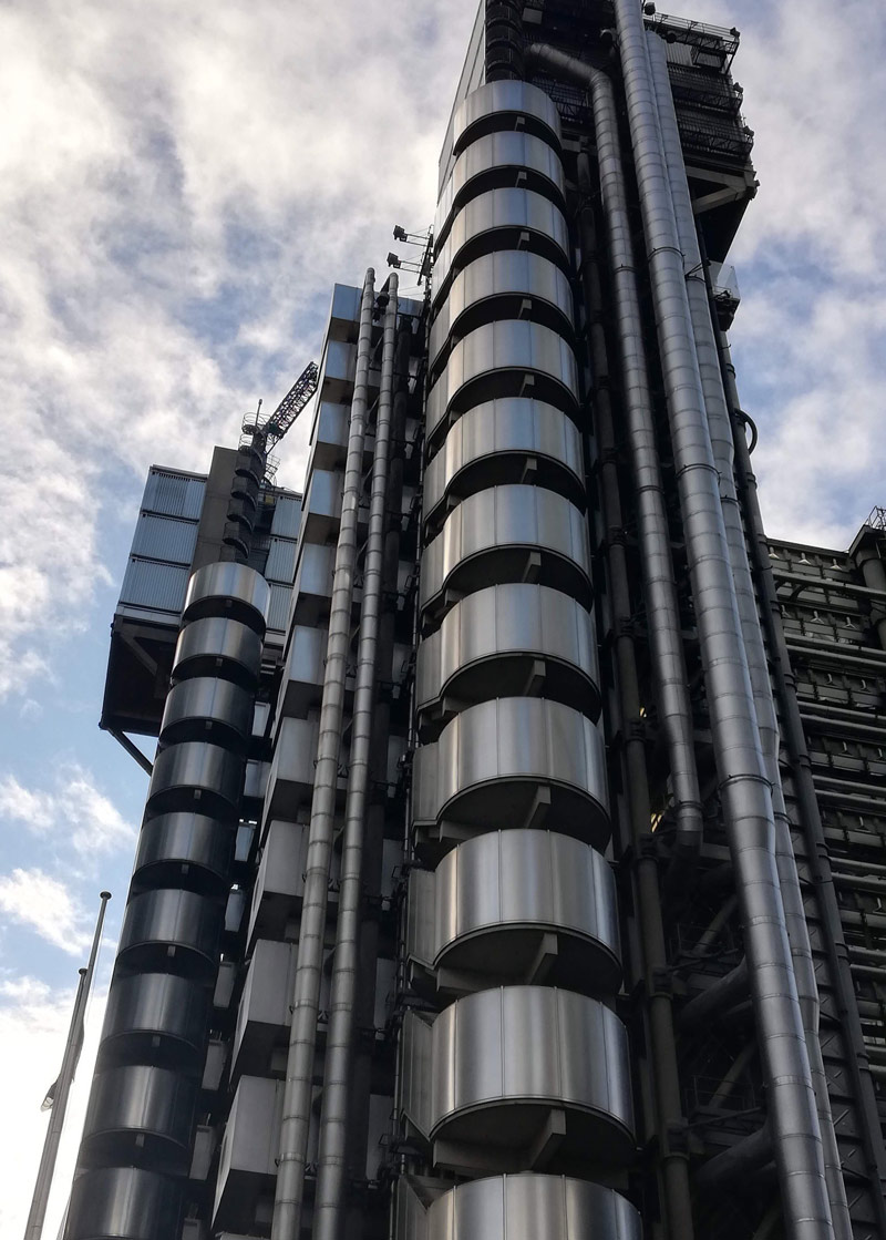 A photo looking up at the Lloyd's Building in London, taken by BA Architecture student Jane Ezechi. The building is made from steel and has exposed pipework, staircases and cabling giving an industrial feel to the building.