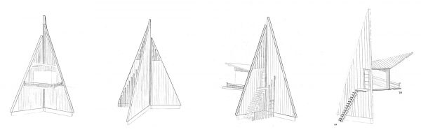 Lifeguard Tower - A technical drawing of pyramid-like lifeguard tower, inspired by fishing trawlers. By BA Architecture student Bradley Fletcher