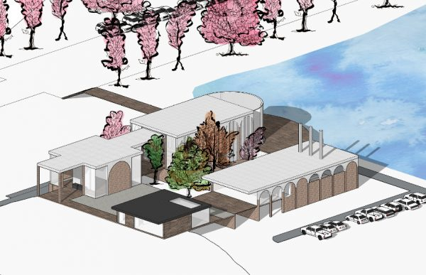 Crematorium - A technical drawing of a crematorium concept by BA Architecture student Chanti Clark