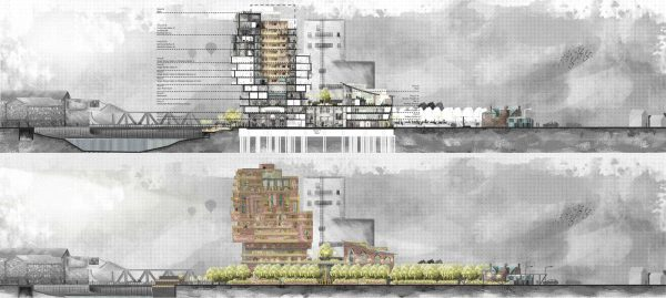 Timeless: The Mills Hotel & Auction - Technical cross section drawing of a building in a watercolour style by BA Architecture student Conrad Areta