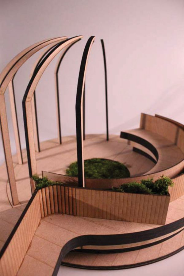 Bench - A model of an outdoor sheltered seating area, made from laser cut pieces of wood, by BA Architecture student Sean Hendley