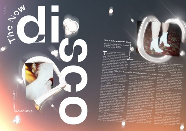 Fever Magazine - Editorial spread for 'Fever Magazine' by BA Design for Publishing student Callan Norton. Creative typography and 3d glowing shapes on a blue and pink background, simulating a night sky, interacting with juxtaposed typography