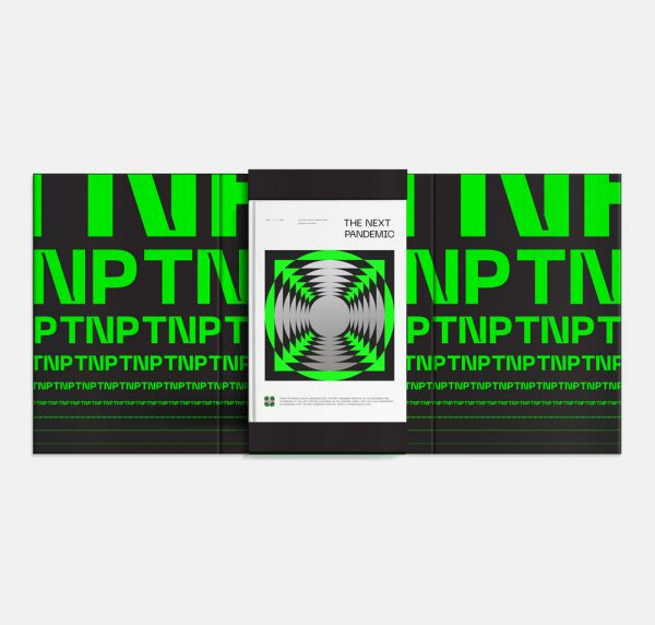 The Last Pandemic - Book jacket design for 'The Last Pandemic' by BA Design for Publishing student Dan Ayris. A black book jacket, with bold, large, luminous green typography repeating 'TNP over and over. The luminous green type suggests 'virus'.
