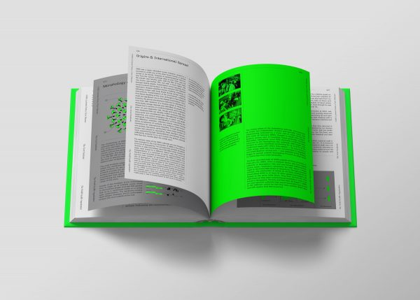 The Last Pandemic - Book design for 'The Last Pandemic' by BA Design for Publishing student Dan Ayris. A mockup of an open book shows a white page on the left, and a luminous green page on the right. The book is laid out like a textbook, providing information on viruses and pandemics.