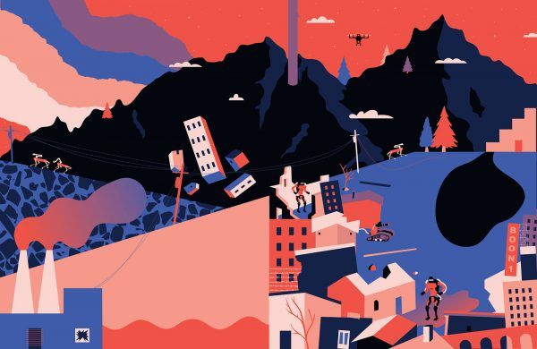 Ellie Hawes - Illustration by BA Design for Publishing student Ellie Hawes. A digital, flat colour illustration using blue, pink and black colours and tints. Depicting a mountainouse landscape juxtaposed with a cityscape