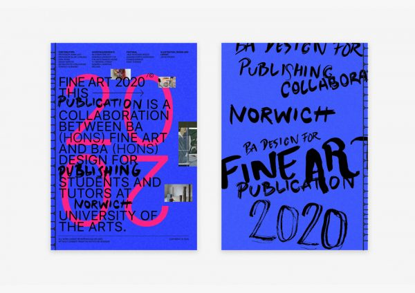 BA Fine Art catalogue - Editorial design for the BA Fine Art catalogue, by BA Design for Publishing student Ollie Turner. A blue cover is filled with black typography, a mixture of sans serif and hand drawn typography. A large pink 2020 is behind all the black typography.