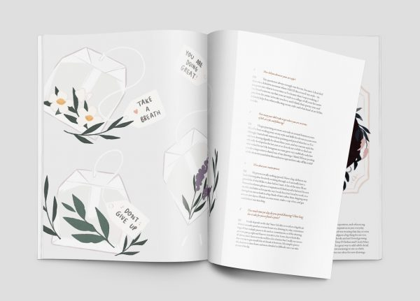 Aballone - Editorial design for Aballone magazine by BA Design for Publishing students Toby McLaren and Hannah Roadknight. A mockup of the open magazine showing a floral green, pink, white and grey digital illustration and text