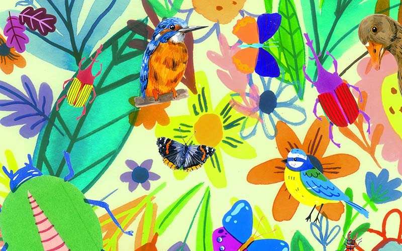 Multicoloured illustration of flowers, leaves and insects by Sophie Cane