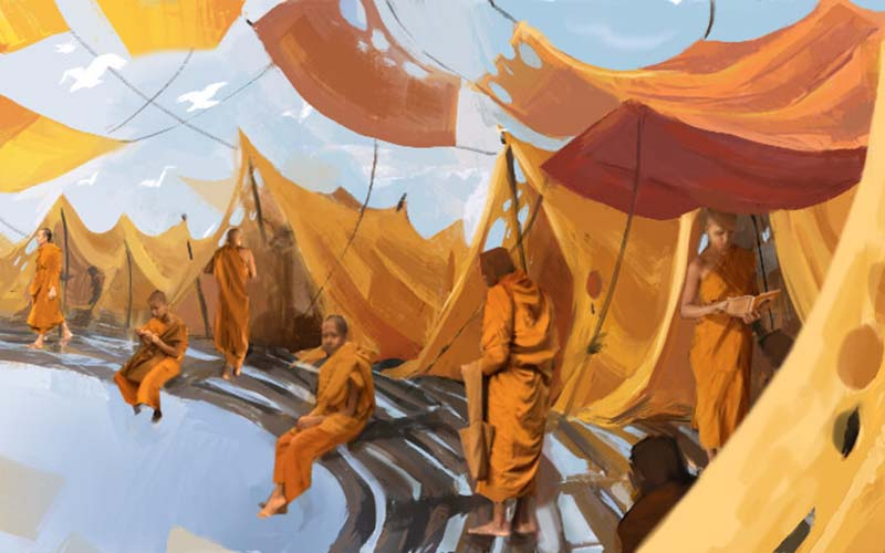 Concept art by Tiril Schjerven showing monks in orange robes outside orange tents