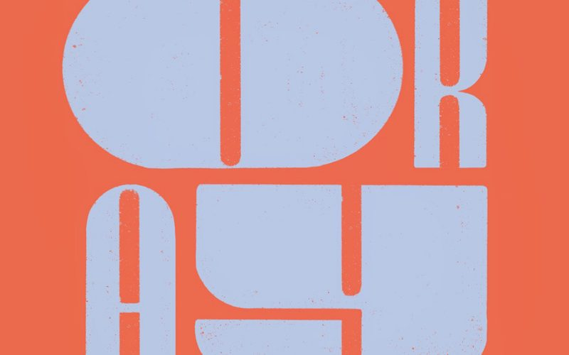 Hand drawn typography by BA Design for Publishing student Sophie Ebbage. 'Okay' is written in stretched grey lettering on an orange background