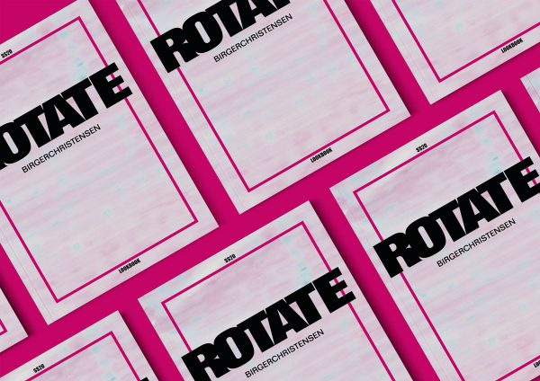 Lara Hammersley - Editorial design mockups by BA Fashion Communication and Promotion student Lara Hammersley. A magazine is laid flat on a pink background, with the word 'ROTATE' in the middle