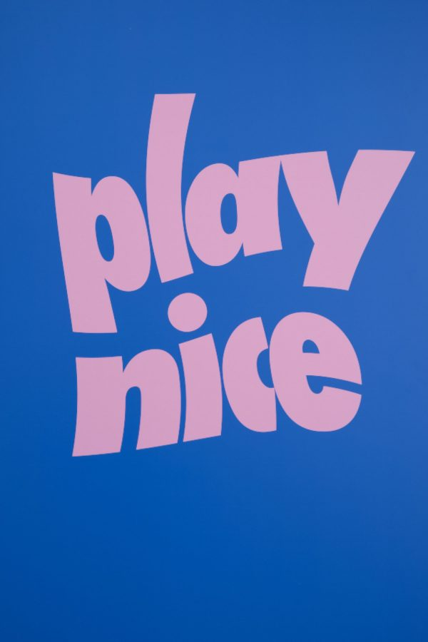 Stephen Gombakomba - Campaign design by BA Fashion Communication and Promotion student Stephen Gombakomba. A blue background with pink lettering, spelling 'play nice', warped.