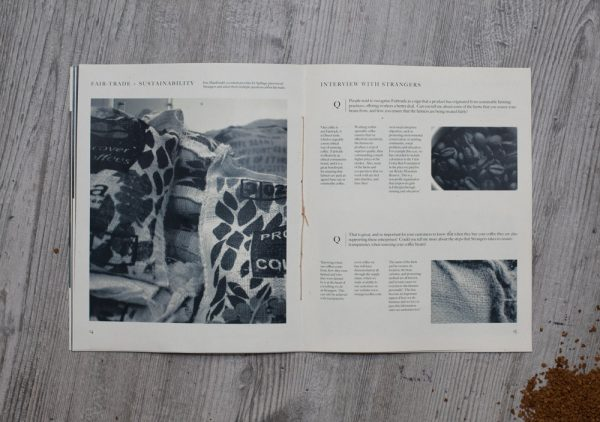 Jamie Greengrass - Editorial design by BA Graphic Communication student Jamie Greengrass. A double page spread on sustainability. Black an white images and text printed on natural grain paper, bound by orange thread