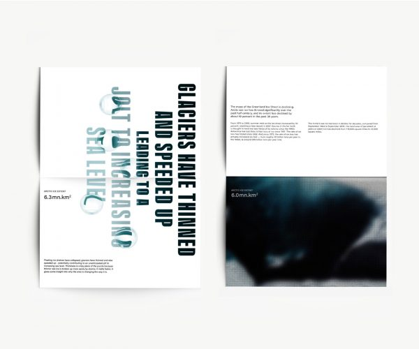 Mansi Katta - Editorial design by BA Graphic Communication student Mansi Katta. A mockup of a double page spread, showing abstract imagery with written text, and large typography saying 'glaciers have thinned and speeded up leading to a jolt in increasing sea level', with water bubbles above some letters distorting the font.