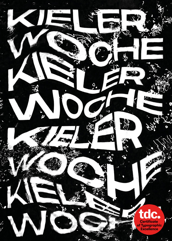Sophia Brandt - Typographic poster promoting Kieler Woche, a German boating festival by BA Graphic Communication student Sophia Brandt. A black poster with warped white typography. Kieler Woche is repeated across the poster and warped to look as if it's under water.
