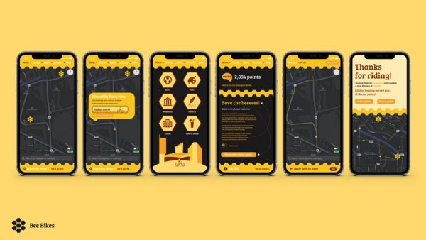 Tom Horbury - App design concepts showing different menus of a bicycle hire app