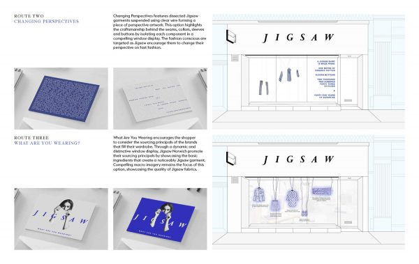 Beth Poulter - Visual merchandising and promotional strategy mockups for fashion brand Jigsaw. By BA Fashion Communication and Promotion student Beth Poulter