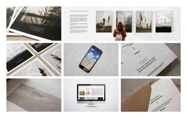 Beth Poulter - Event marketing and promotion for fashion brand Toast, featuring mockups of invitations, web pages and social media styling. By BA Fashion Communication and Promotion student Beth Poulter