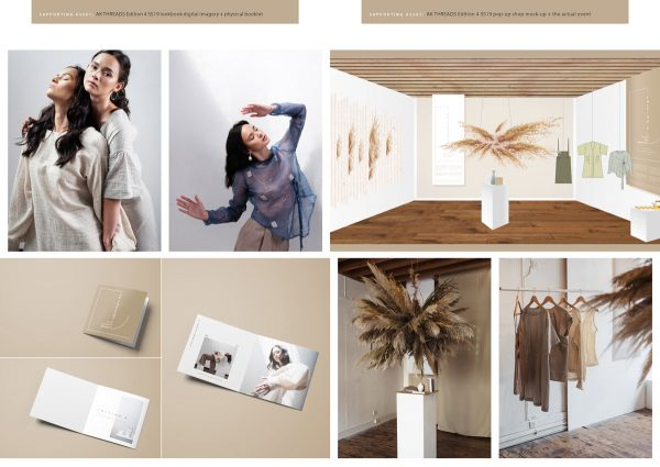 Marta Zaremba - Visualisation of AK Threads lookbook photography, with plans and illustrations of the pop up fashion shop and launch event, by BA Fashion Communication and Promotion student Marta Zaremba