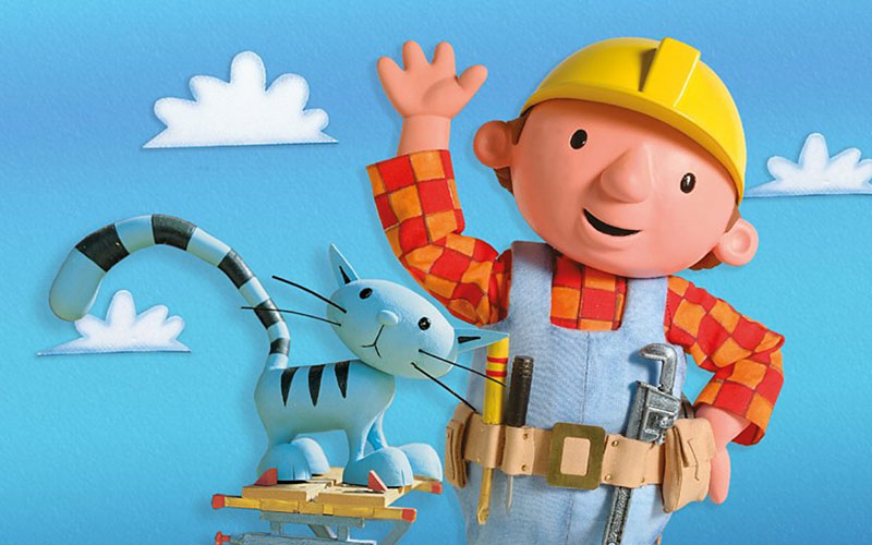 Screenshot of bob the builder and cat with clouds in background