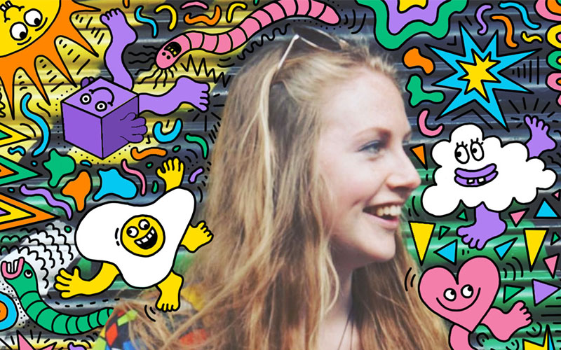 Colourful image showing graduate Ailish Beadle surrounded by cartoon drawings