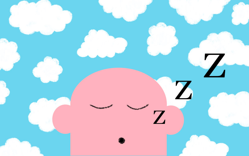 Illustration of blue sky with clouds and pink character sleeping