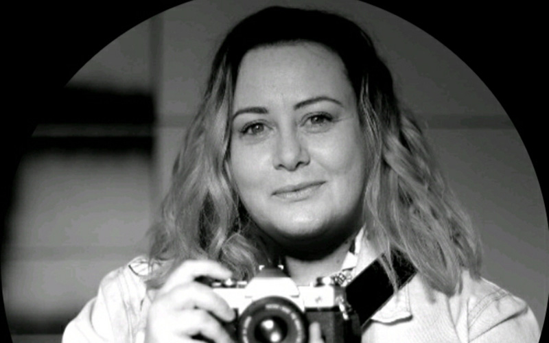 Black and white photograph of MA Photography graduate Danyelle Rolla