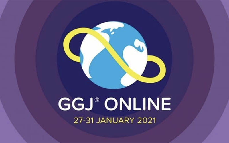 Blue and yellow logo on a purple background for the Global Game Jam online 2021
