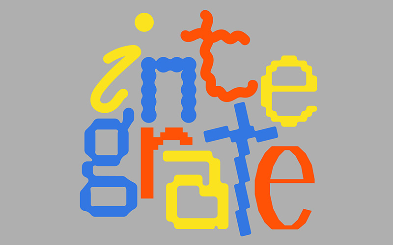 The word Integrate written in blue, yellow and red letters on a pale grey background