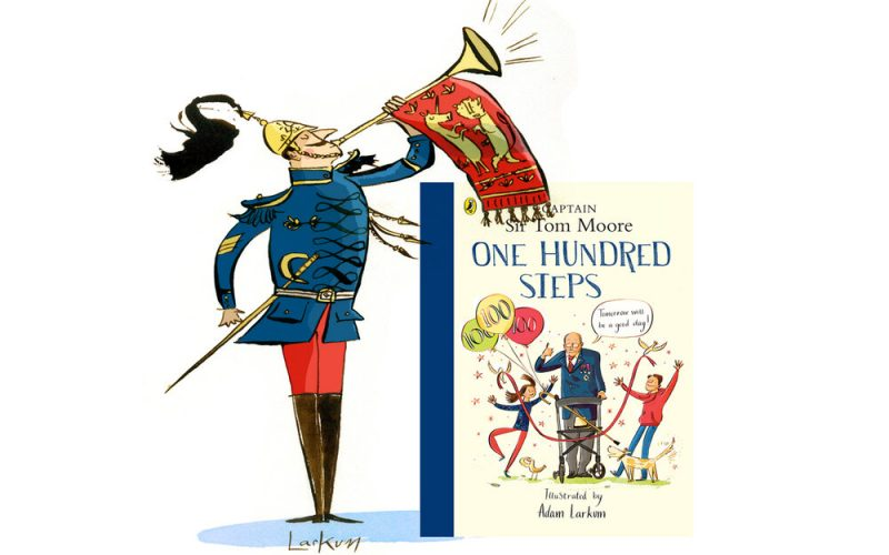An illustration of a member of the Queen's Guard blowing a trumpet. Next to it is the book cover for One Hundred Steps, a story about Sir Captain Tom Moore. Illustrated by BA Illustration lecturer Adam Larkum