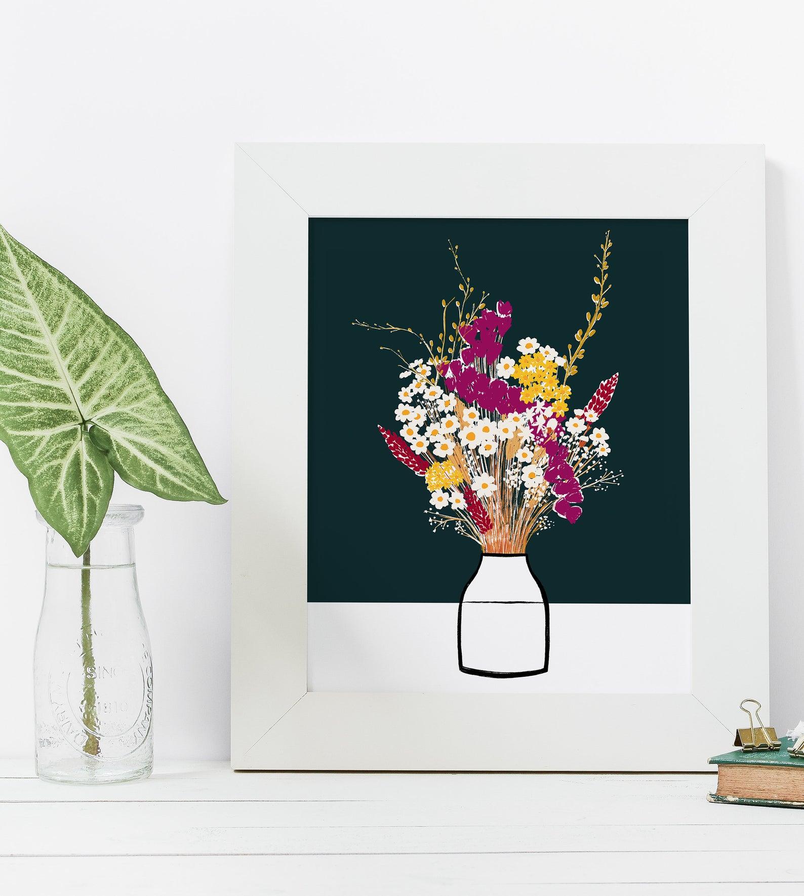 flower vase print
