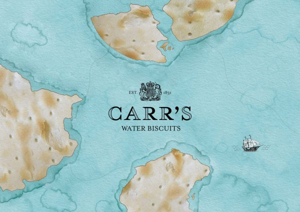 Billy Nhiwatiwa - Promotional branding for Carr's water biscuits. A map design, with landmass filled with Carr's water biscuits