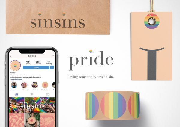 Billy Nhiwatiwa - Branding for Sinsins boutique. Instagram design, tape with rainbow patterns and the words 'pride: loving someone is never a sin'