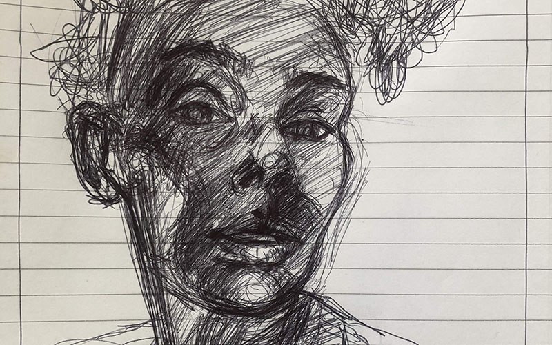 Drawing of a woman in black biro on lined paper