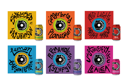 Amelia Cherrill - Dalston's drink packaging design. Multicoloured cans and boxes with hand drawn lettering describing each flavour
