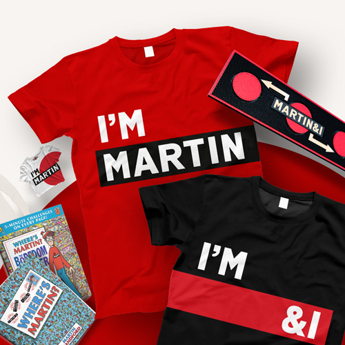 Ben Chamberlain & Ethan Brown - Brand extension for Martini and Martin & I concept for drinking with a friend. One red t-shirt with 'I'm Martin' and one black t-shirt with 'I'm & I'