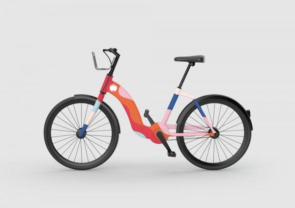 Ella Flood & Erin Ruane - Bike design using colours from the Bright Hire branding designed by BA Graphic Design students Erin Ruane and Ella Flood