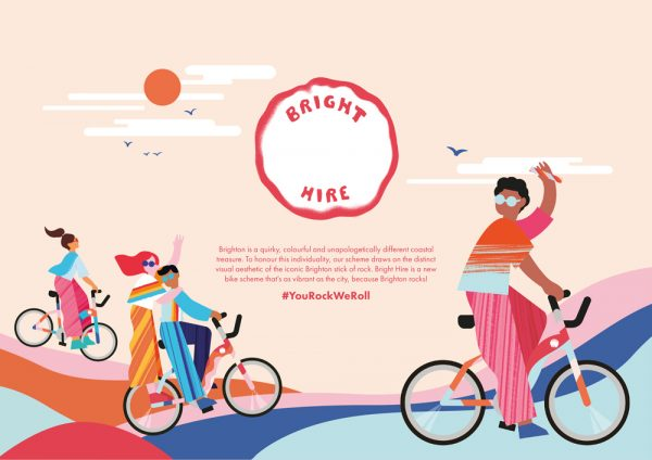 Ella Flood & Erin Ruane - Promotional marketing design for Bright Hire bikes, using colourful illustrations of people riding bikes and a piece of rock with 'Bright Hire' inscribed