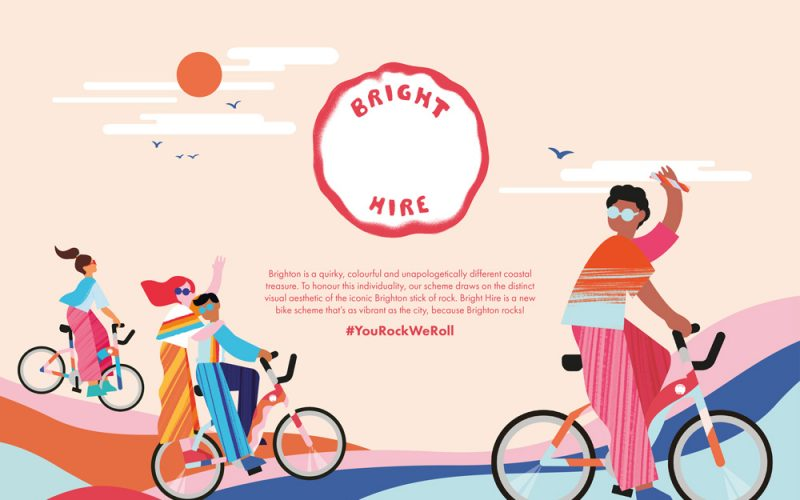 Promotional marketing design for Bright Hire bikes, using colourful illustrations of people riding bikes and a piece of rock with 'Bright Hire' inscribed
