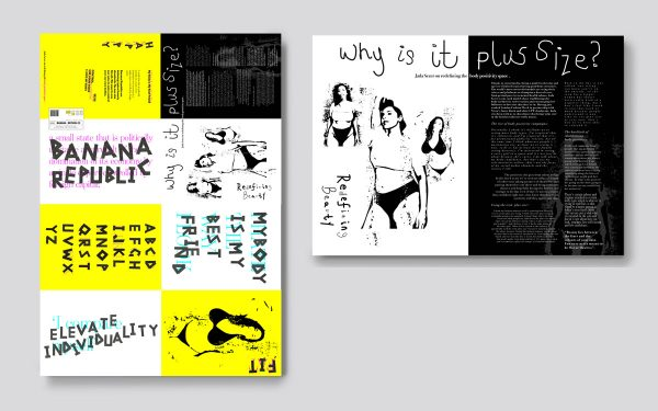 Emma-Louise Hannaway - Editorial design for Banana Republic. Yellow pages and black pages of text, with original illustrations and hand drawn lettering