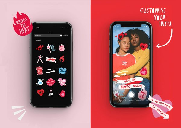 Erin Ruane - Instagram giphy and sticker design of icons for Heat condom brand. Including icons of matches, fire and love hearts